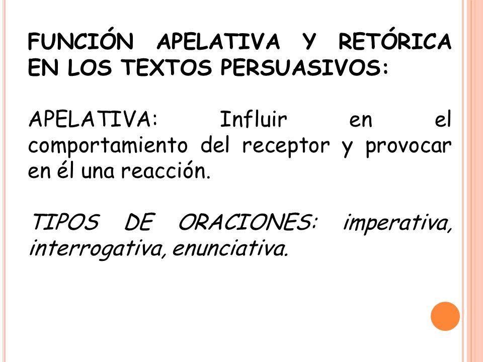 FUNCIÓN APELATIVA Y RETÓRICA EN LOS TEXTOS PERSUASIVOS: