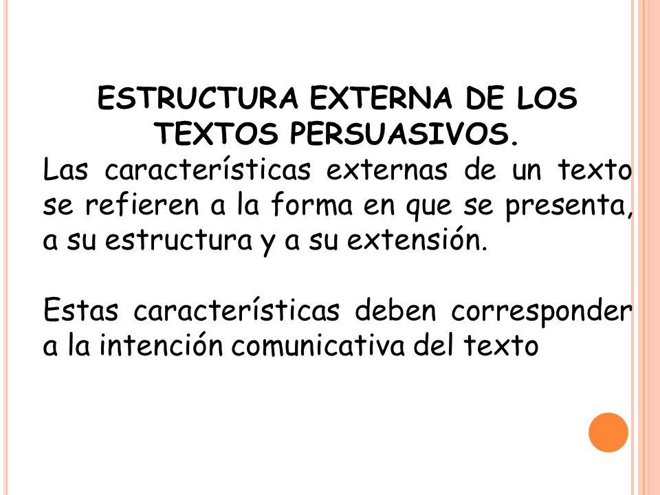 ESTRUCTURA EXTERNA DE LOS TEXTOS PERSUASIVOS.