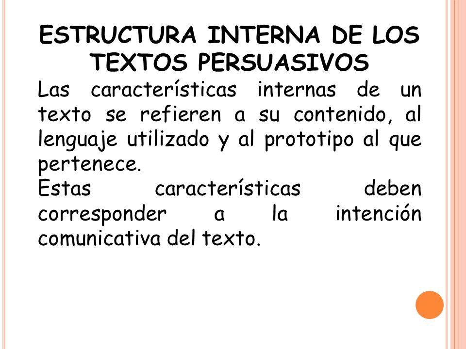 ESTRUCTURA INTERNA DE LOS TEXTOS PERSUASIVOS
