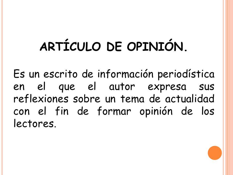 ARTÍCULO DE OPINIÓN.