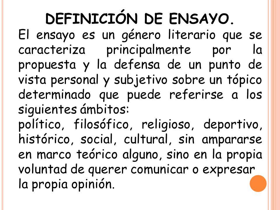 DEFINICIÓN DE ENSAYO.
