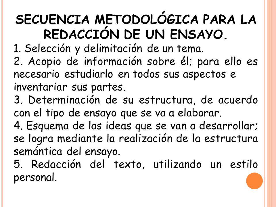 SECUENCIA METODOLÓGICA PARA LA REDACCIÓN DE UN ENSAYO.