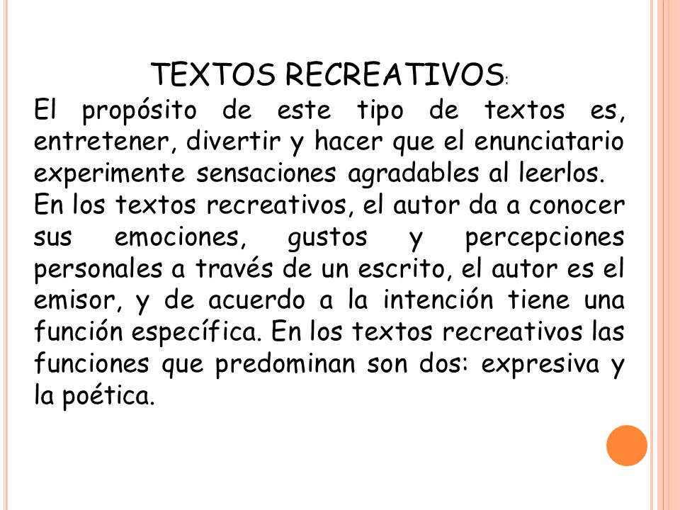 TEXTOS RECREATIVOS: