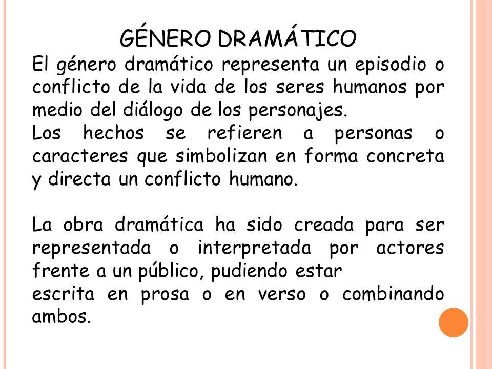 GÉNERO DRAMÁTICO El género dramático representa un episodio o conflicto de la vida de los seres humanos por medio del diálogo de los personajes.