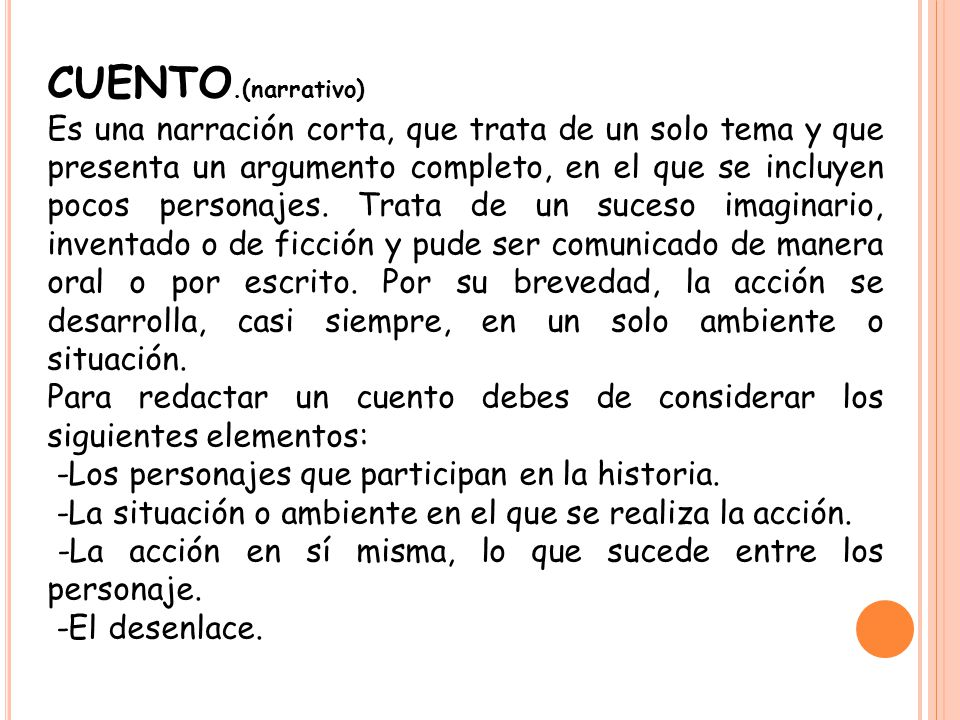 CUENTO.(narrativo)