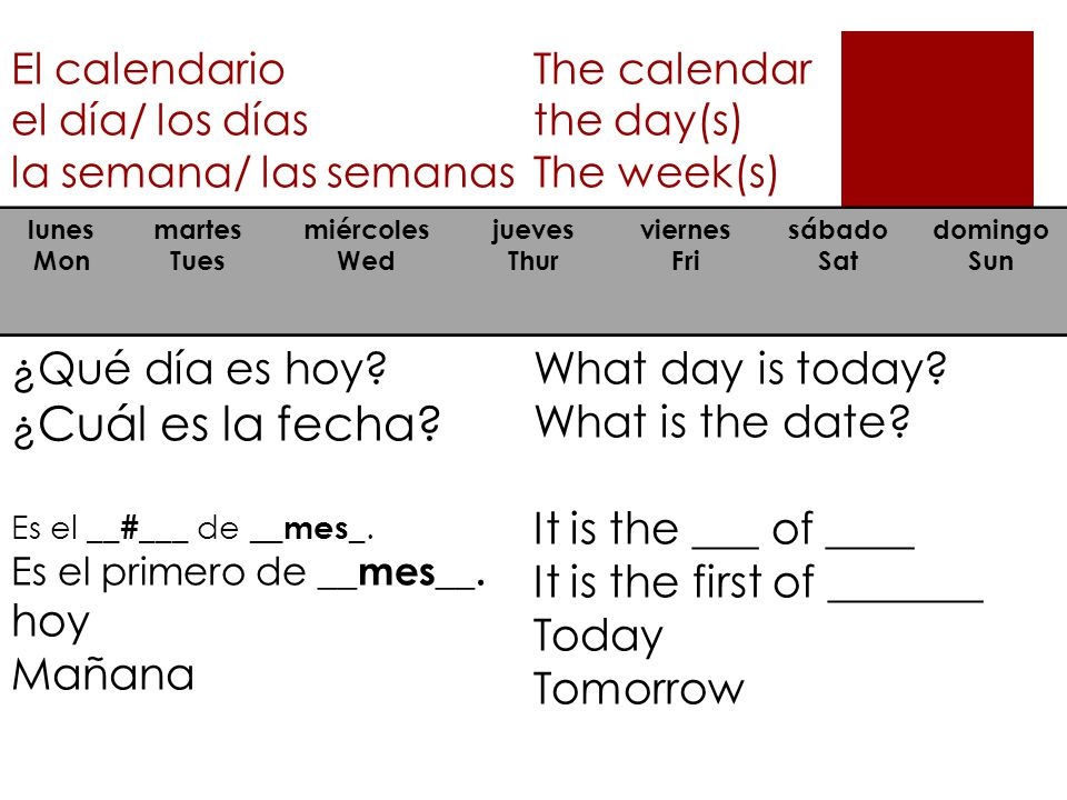 It is the first of _______ hoy Today Mañana Tomorrow