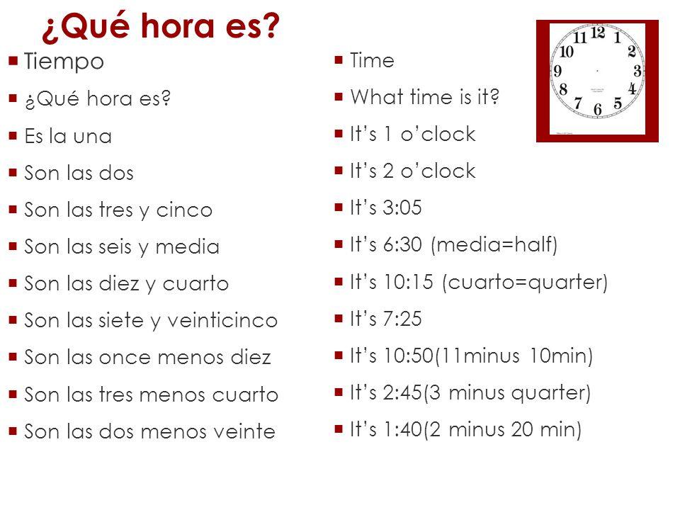 ¿Qué hora es Tiempo Time ¿Qué hora es What time is it Es la una
