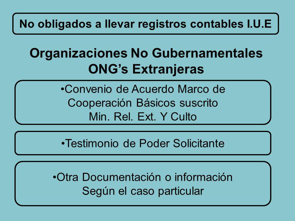No obligados a llevar registros contables I.U.E