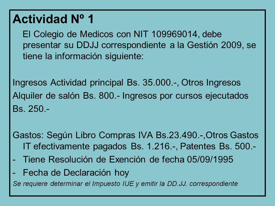 Actividad Nº 1 El Colegio de Medicos con NIT 109969014, debe presentar su DDJJ correspondiente a la Gestión 2009, se tiene la información siguiente: