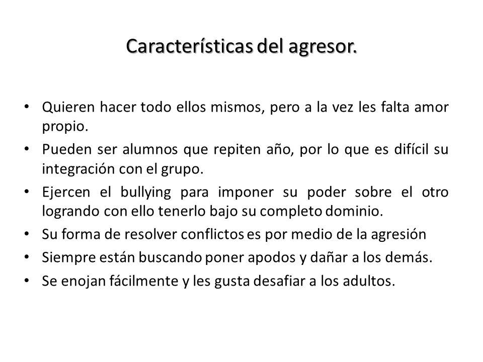 Características del agresor.
