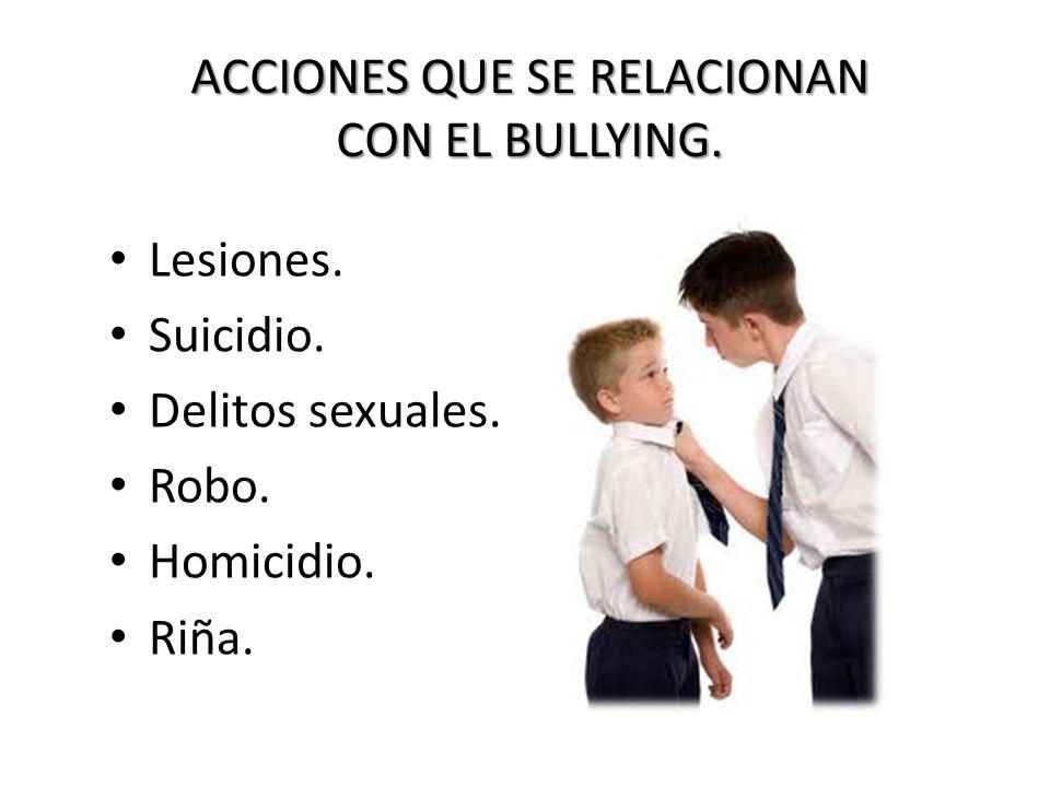 ACCIONES QUE SE RELACIONAN CON EL BULLYING.
