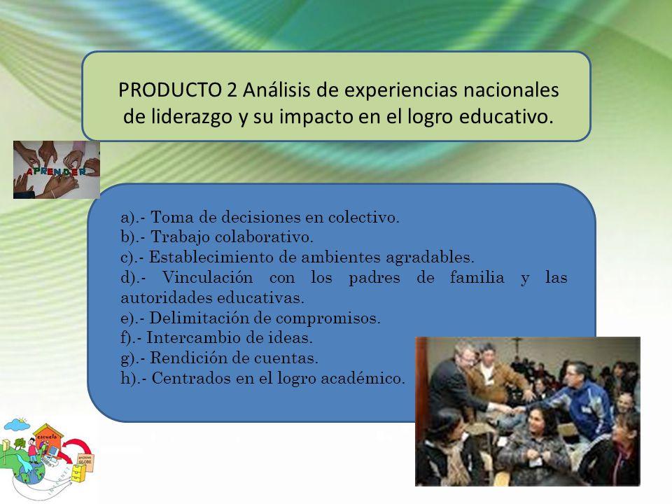 PRODUCTO 2 Análisis de experiencias nacionales de liderazgo y su impacto en el logro educativo.