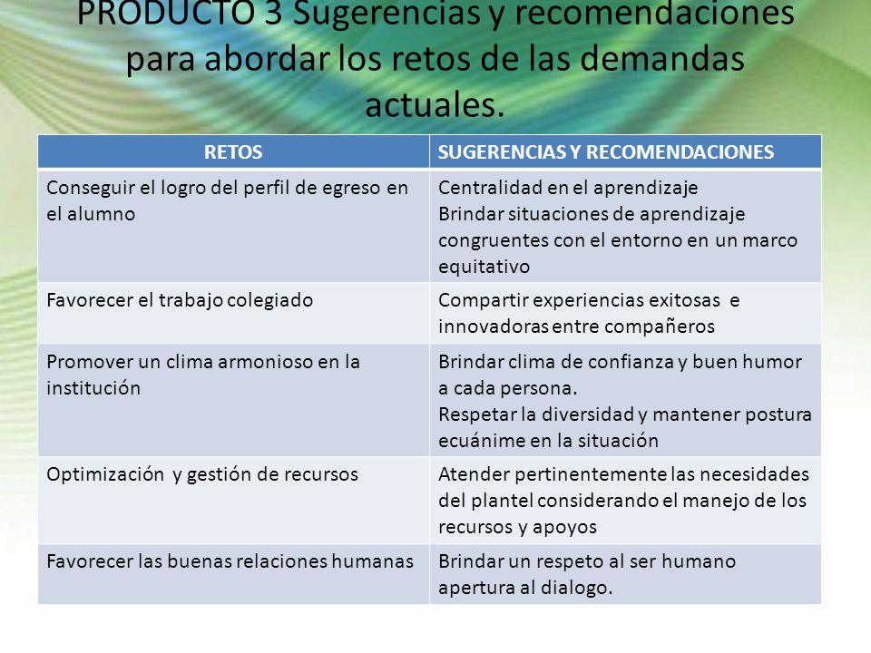 PRODUCTO 3 Sugerencias y recomendaciones para abordar los retos de las demandas actuales.