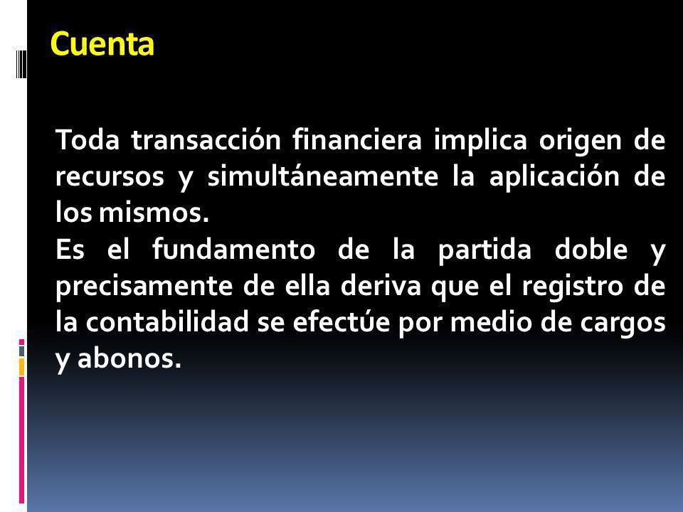Cuenta Toda transacción financiera implica origen de recursos y simultáneamente la aplicación de los mismos.