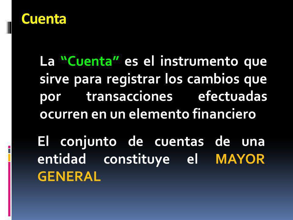 Cuenta La Cuenta es el instrumento que sirve para registrar los cambios que por transacciones efectuadas ocurren en un elemento financiero.