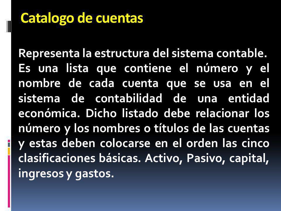 Catalogo de cuentas Representa la estructura del sistema contable.