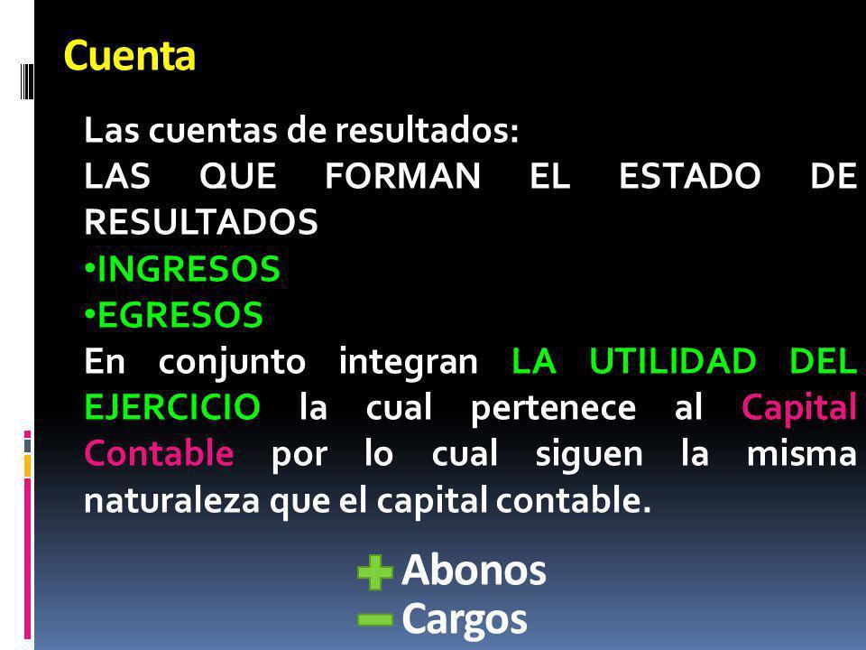 Cuenta Abonos Cargos Las cuentas de resultados: