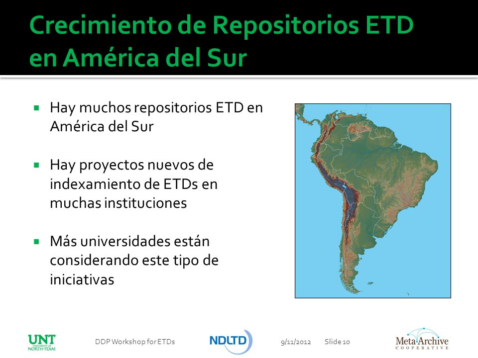 Crecimiento de Repositorios ETD en América del Sur
