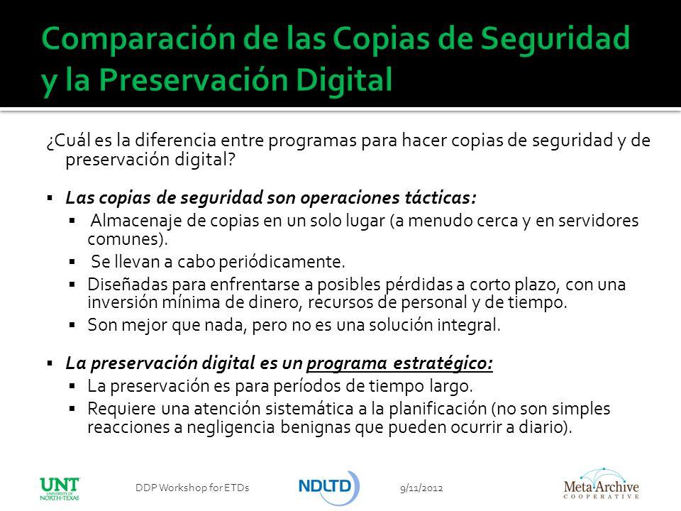 Comparación de las Copias de Seguridad y la Preservación Digital