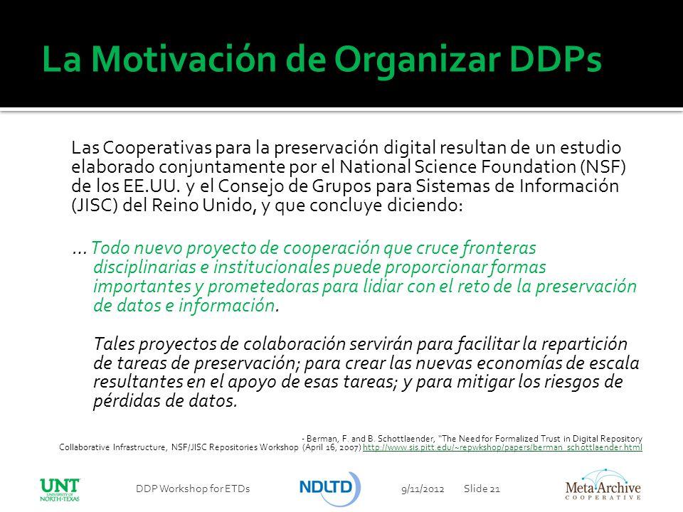 La Motivación de Organizar DDPs