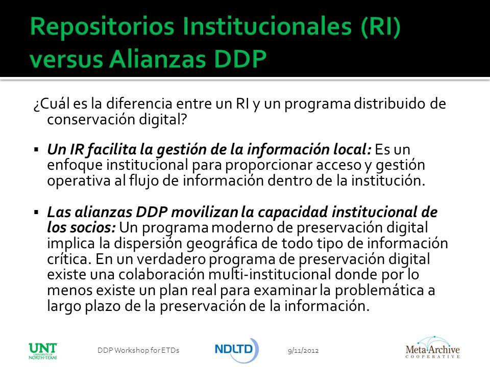 Repositorios Institucionales (RI) versus Alianzas DDP