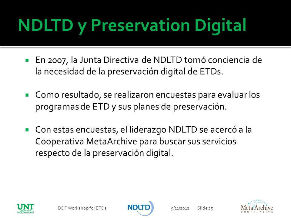 NDLTD y Preservation Digital