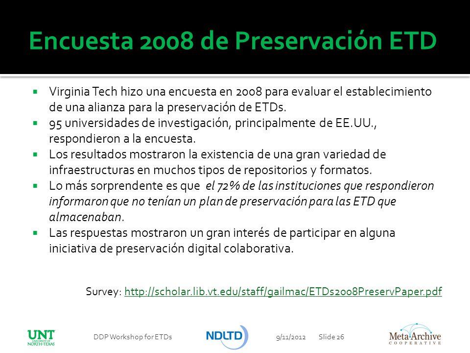 Encuesta 2008 de Preservación ETD