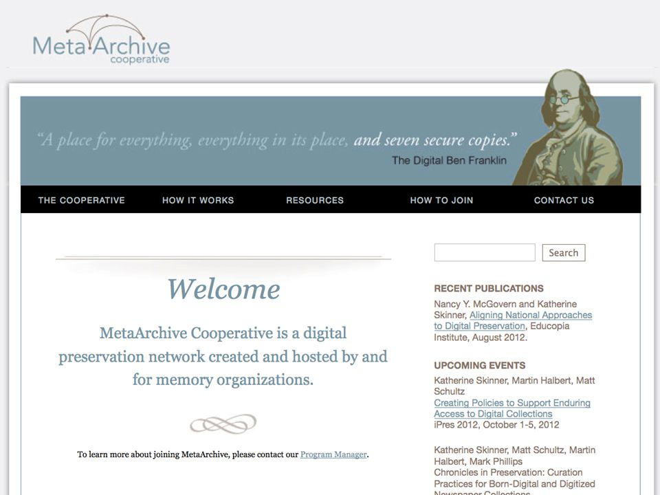 MetaArchive Home Page Updated DDP Workshop for ETDs 9/11/2012