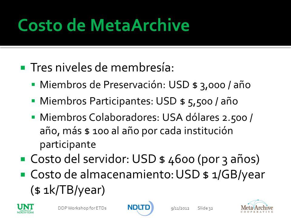 Costo de MetaArchive Tres niveles de membresía: