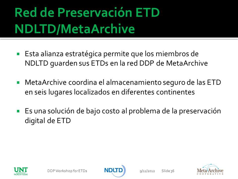 Red de Preservación ETD NDLTD/MetaArchive