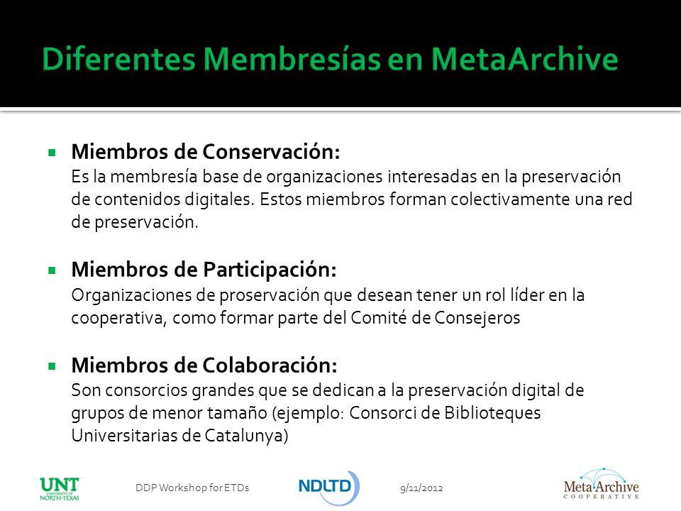 Diferentes Membresías en MetaArchive