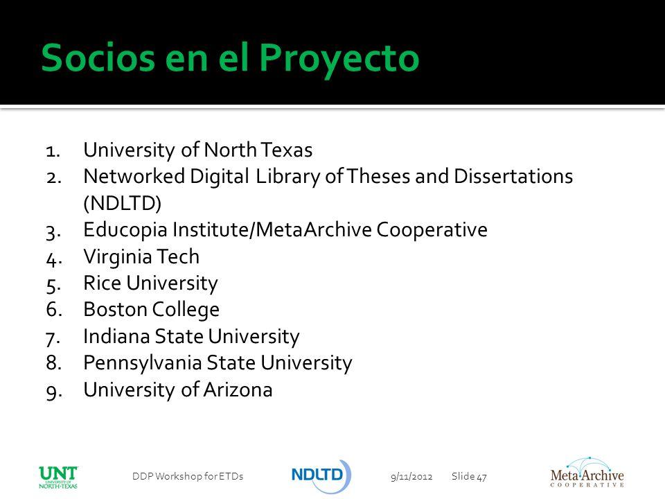 Socios en el Proyecto University of North Texas