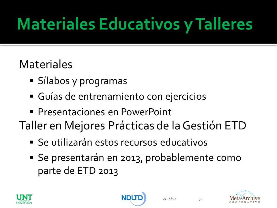 Materiales Educativos y Talleres