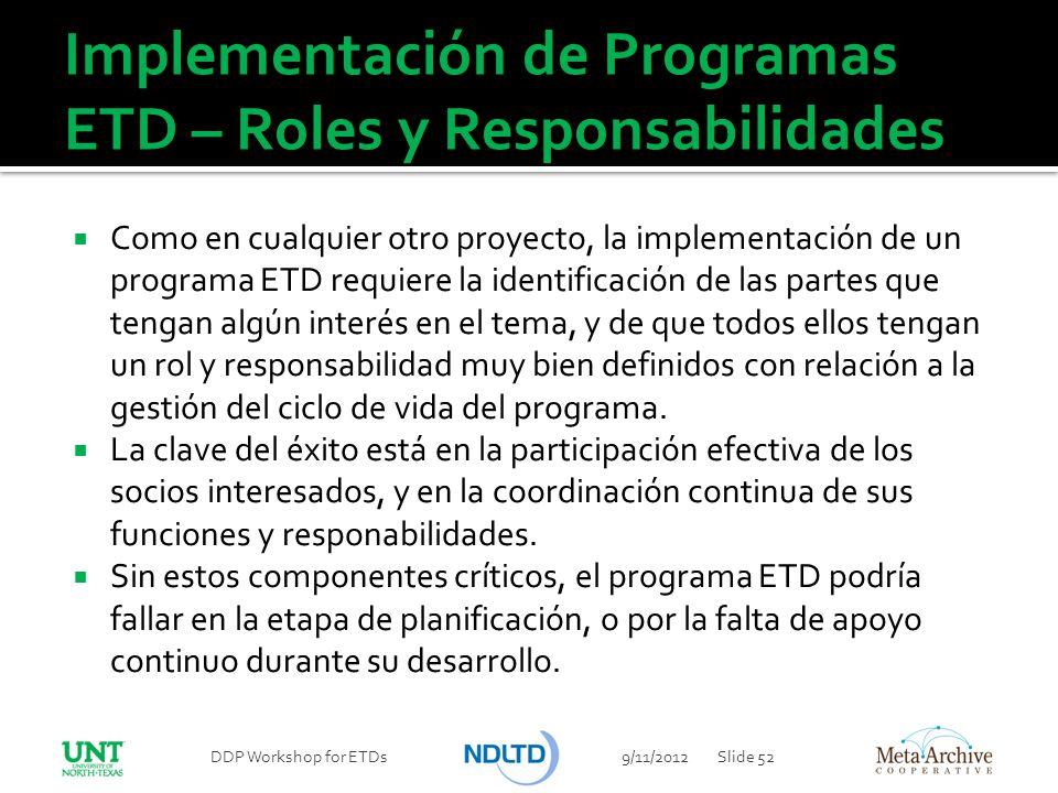 Implementación de Programas ETD – Roles y Responsabilidades
