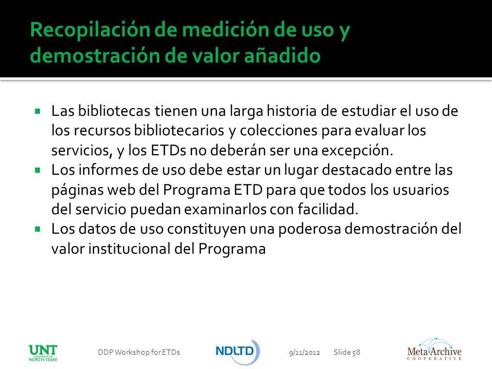 Recopilación de medición de uso y demostración de valor añadido