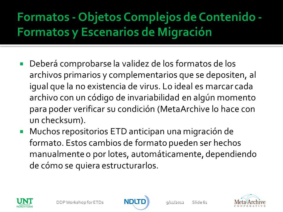 Formatos - Objetos Complejos de Contenido - Formatos y Escenarios de Migración