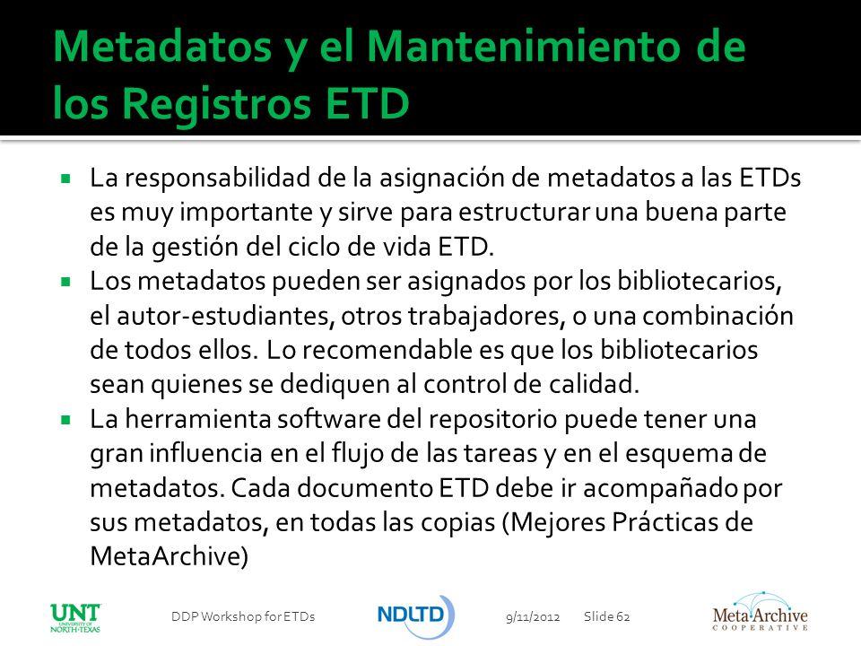 Metadatos y el Mantenimiento de los Registros ETD