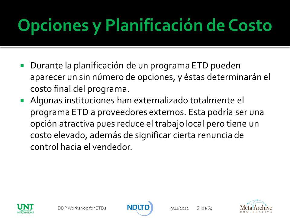 Opciones y Planificación de Costo