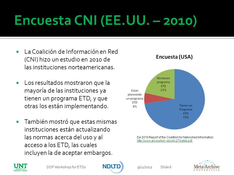 Encuesta CNI (EE.UU. – 2010) La Coalición de Información en Red (CNI) hizo un estudio en 2010 de las instituciones norteamericanas.