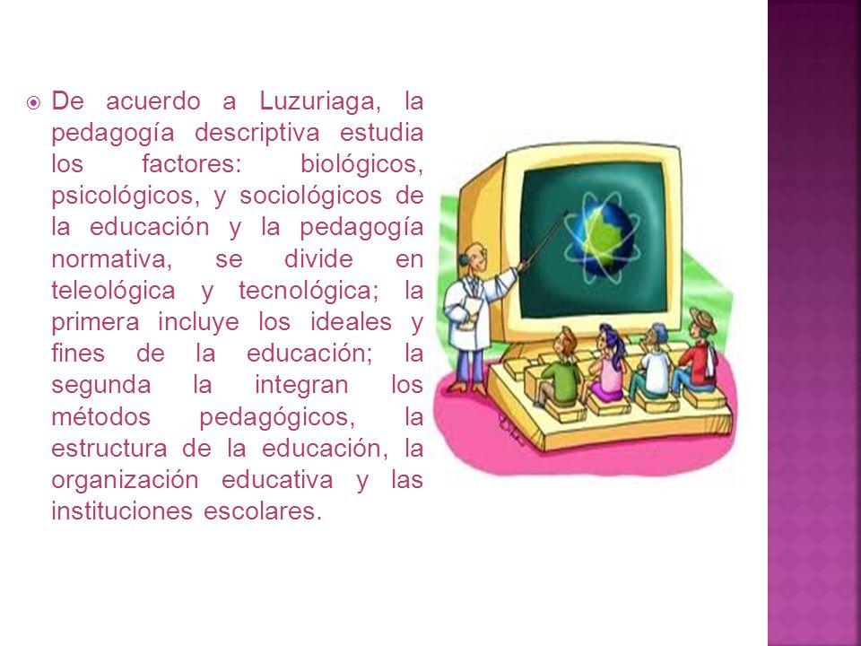 De acuerdo a Luzuriaga, la pedagogía descriptiva estudia los factores: biológicos, psicológicos, y sociológicos de la educación y la pedagogía normativa, se divide en teleológica y tecnológica; la primera incluye los ideales y fines de la educación; la segunda la integran los métodos pedagógicos, la estructura de la educación, la organización educativa y las instituciones escolares.
