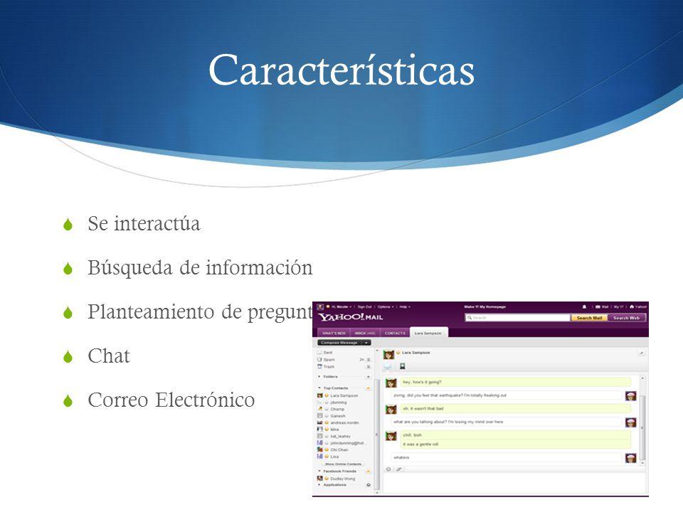 Características Se interactúa Búsqueda de información