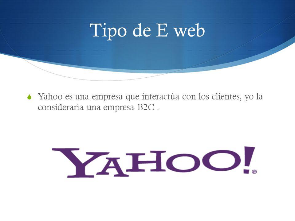Tipo de E web Yahoo es una empresa que interactúa con los clientes, yo la consideraría una empresa B2C .