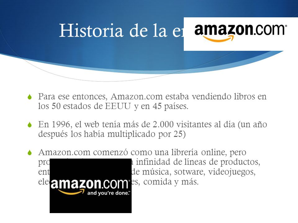 Historia de la empresa Para ese entonces, Amazon.com estaba vendiendo libros en los 50 estados de EEUU y en 45 países.