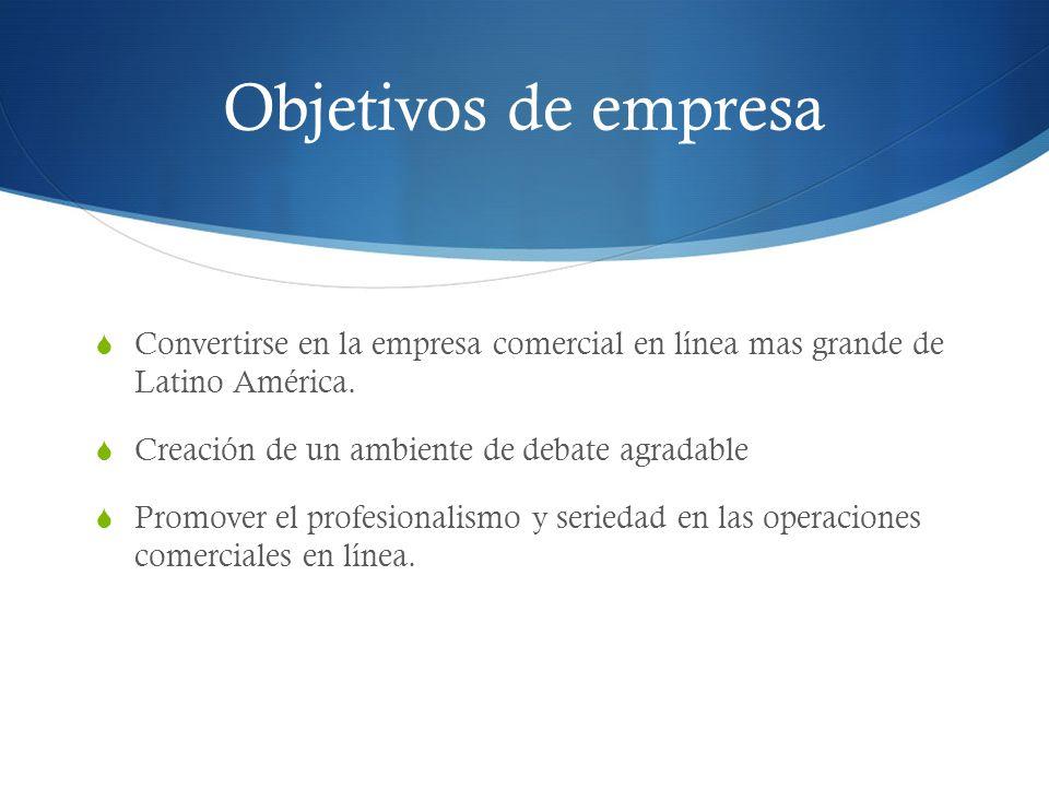 Objetivos de empresa Convertirse en la empresa comercial en línea mas grande de Latino América. Creación de un ambiente de debate agradable.