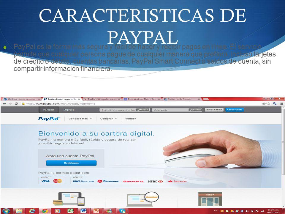 CARACTERISTICAS DE PAYPAL