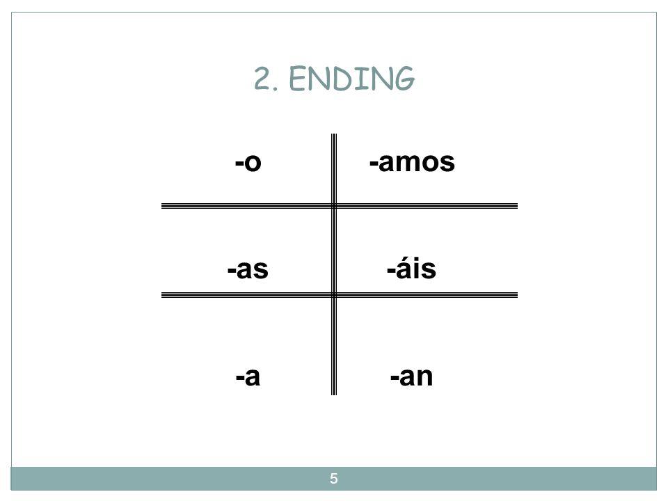 2. ENDING -o -as -a -amos -áis -an
