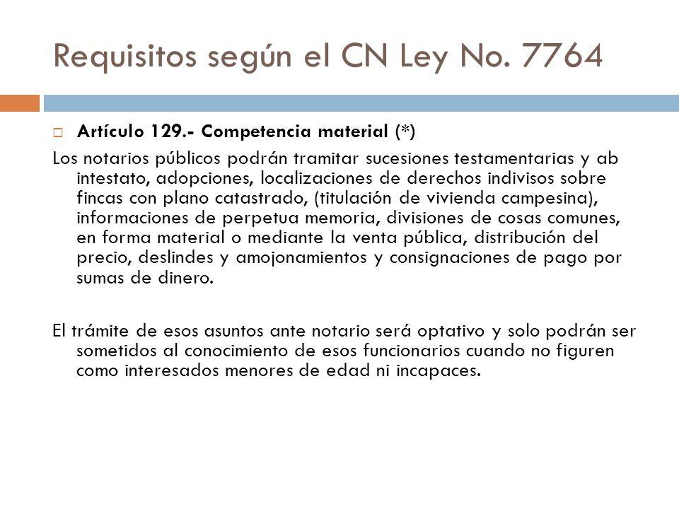 Requisitos según el CN Ley No. 7764
