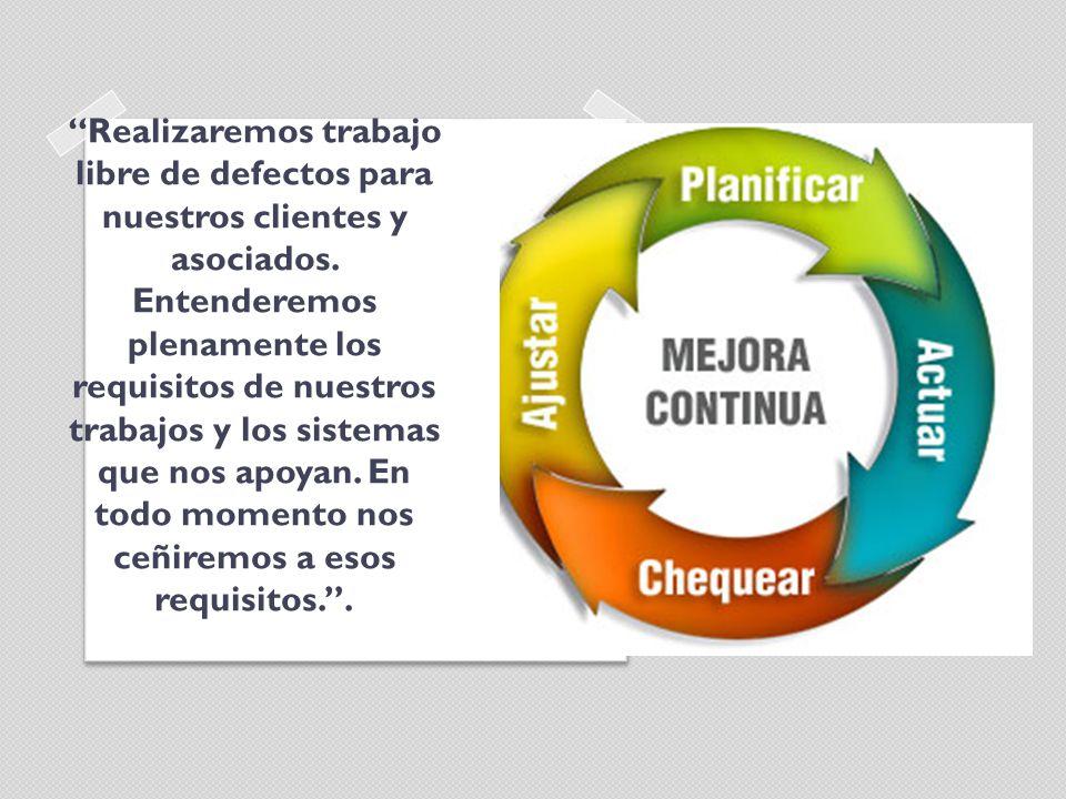 Realizaremos trabajo libre de defectos para nuestros clientes y asociados.