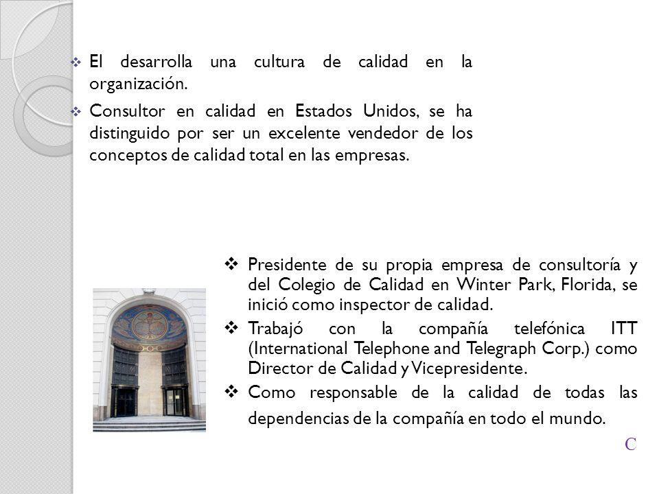 El desarrolla una cultura de calidad en la organización.