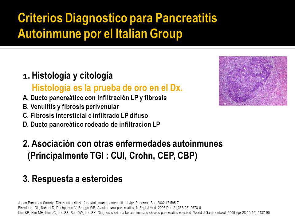 Criterios Diagnostico para Pancreatitis Autoinmune por el Italian Group